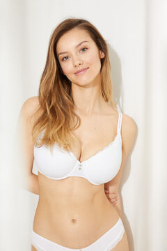 Womensecret BEAUTIFUL Classic padded bra, underwired, in white cotton and lace white