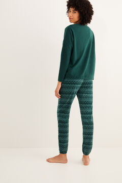 Womensecret Long green fleece pyjamas  green