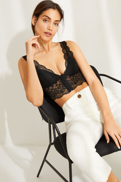 Womensecret Black lace halterneck bralette black