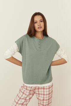 Womensecret Green cotton short-sleeved Henley top green