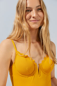 Womensecret V-neck mustard swimsuit with scalloped neckline yellow