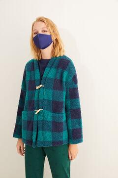 Womensecret Robe de chambre imprimé à carreaux verte imprimé