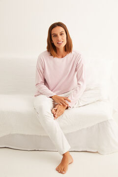 Womensecret Long pink velour crystal details pyjamas pink
