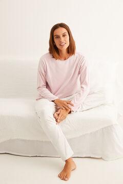Womensecret Pyjama long velours détails strass rose rose