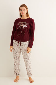 Womensecret Long maroon Hogwarts Express pyjamas printed