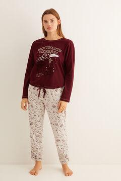 Womensecret Roxfort Expressz mintás, gránátvörös, hosszú pizsama rávasalt mintás