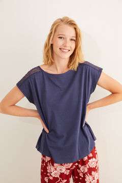 Womensecret Blue short-sleeved t-shirt lace detail blue
