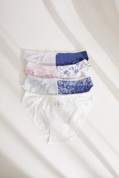 Womensecret 7-pack floral cotton Brazilian panties blue