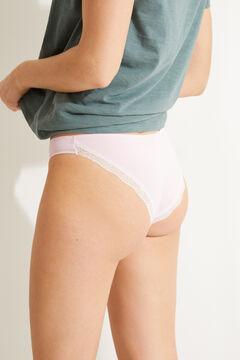 Womensecret Tanga coton détail dentelle rose