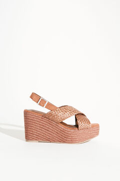 Womensecret Pink crossover wedge sandal nude