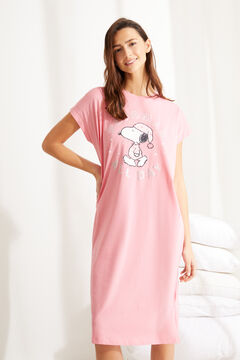 Womensecret Snoopy pink midi striped cotton nightgown pink