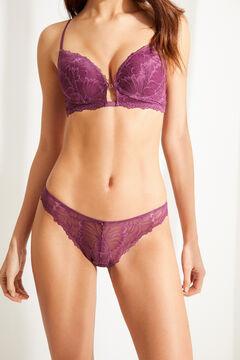 Womensecret Classic aubergine gathered lace panty pink