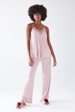 Womensecret Pijama alças cor-de-rosa comprida rosa