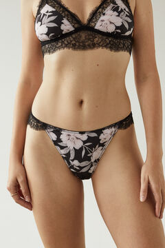 Womensecret Floral microfibre and lace classic panty pink