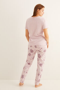 Womensecret Blue short-sleeved floral pyjamas pink