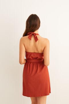 Womensecret Vestido cruzado arandelas rojo