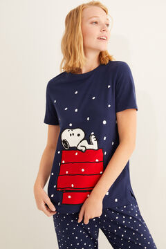 Womensecret Long Snoopy short-sleeved pyjamas blue
