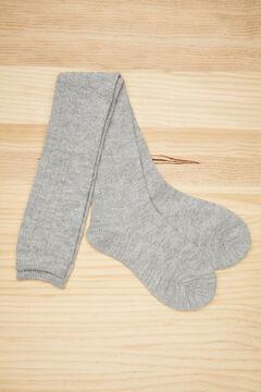 Womensecret Long grey cable knit socks grey