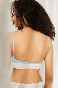 Womensecret Seamless cotton top with removable cups and lace details blue