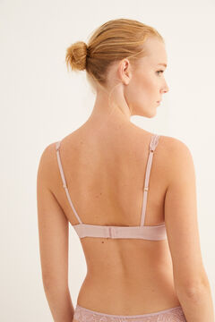 Womensecret Pink padded halterneck bra in microfibre with lace pink