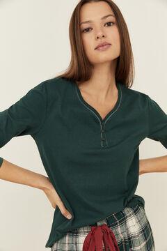Womensecret Thermal green cotton Henley top green