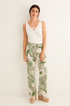 Womensecret Long printed pyjama bottoms green