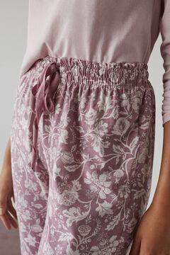 Womensecret Pantalon fleurs coton rose rosa