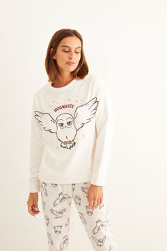 Womensecret Long fleece Hedwig print pyjamas beige