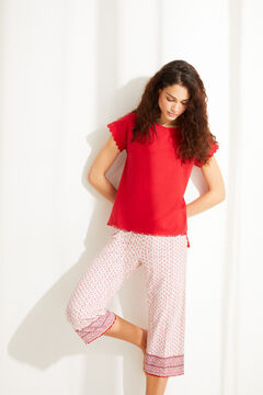 Womensecret Ethnic floral 100% cotton short-sleeved capri pyjamas red