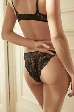 Womensecret Black lace strappy Brazilian panty black