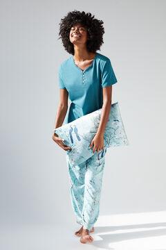 Womensecret Light blue cotton short-sleeved top blue