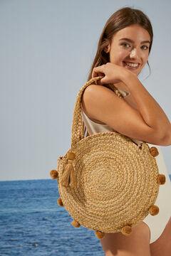 Womensecret Raffia pompom handbag white
