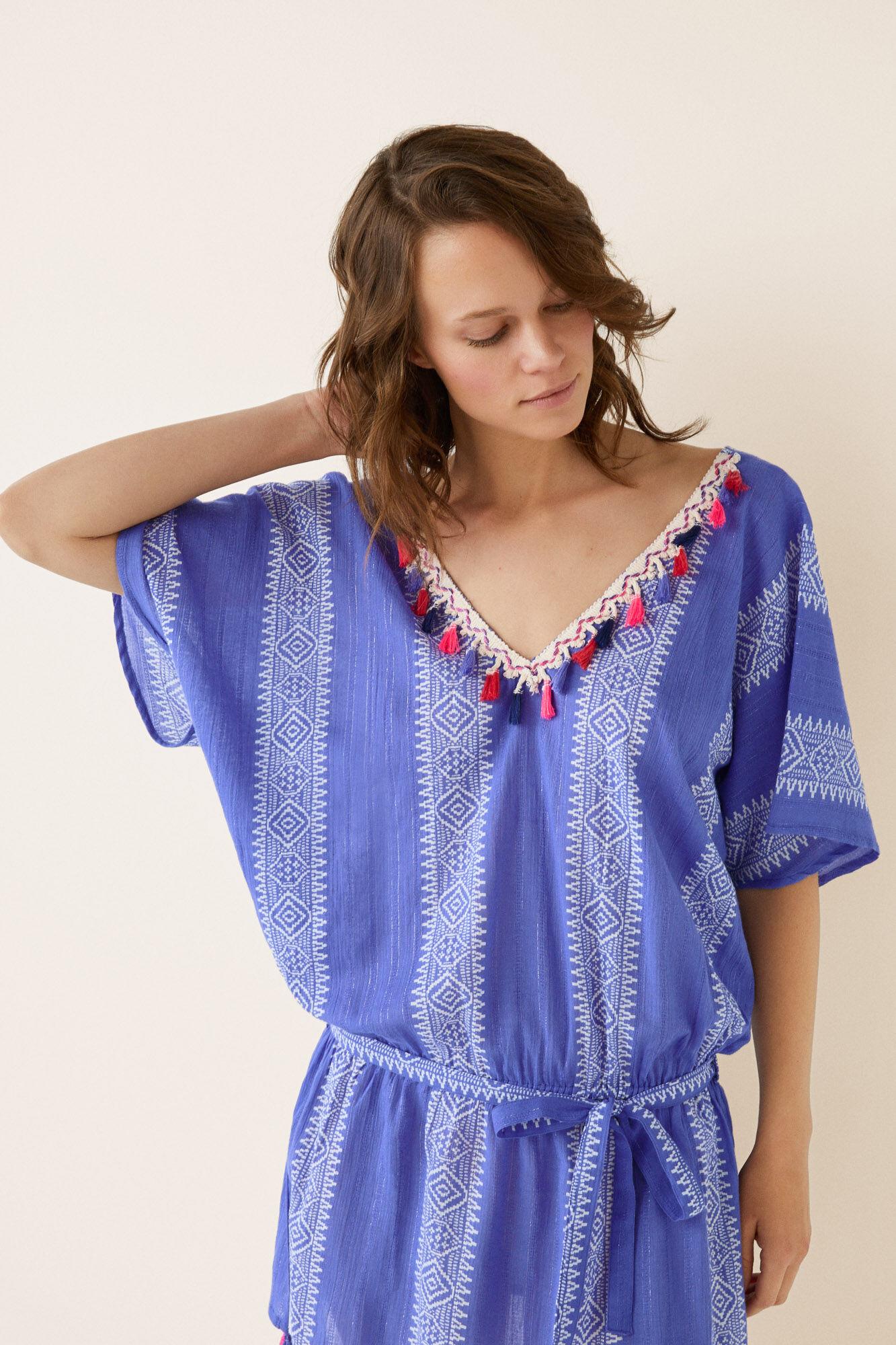 7c16dc45a44 Womensecret túnica corta estampada con borlas estampado jpg 600x900 Blusa  bata tunicas ropa blanco playa