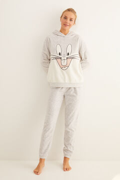 Womensecret Pijama comprido polar Pernalonga cinzento
