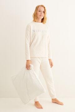 Womensecret Pijama comprido polar branco impressão