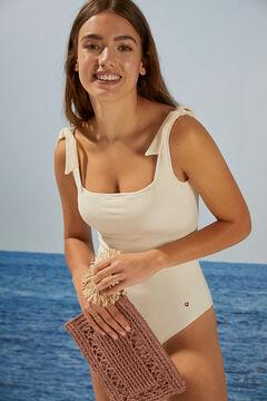 Womensecret Natural raffia handbag with wrist strap pink