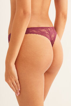 Womensecret String dentelle grenat rouge