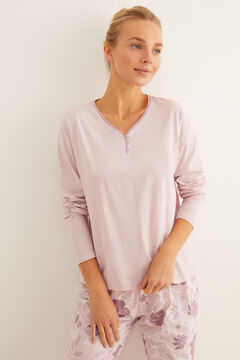 Womensecret Long pink floral print pyjamas pink