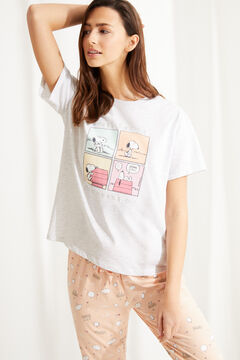 Womensecret Pyjama long manches courtes coton Snoopy rose gris