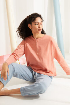 Womensecret Coral cotton long-sleeved Henley top pink