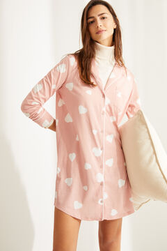 Womensecret Classic cotton heart nightgown with buttons pink