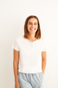Womensecret White short-sleeved Henley top beige