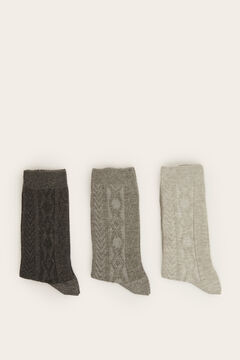 Womensecret 3-pack long grey socks grey