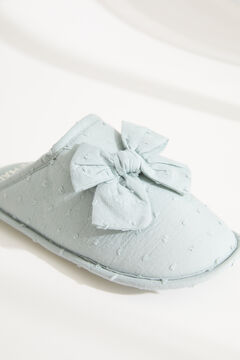 Womensecret Green plumetis knot slippers blue