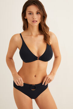 Womensecret Plain bikini top with ring black