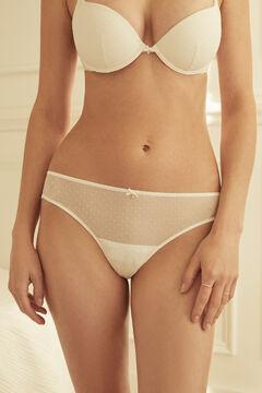 Womensecret Braguita brasileña tul flocado y encaje blanco blanco
