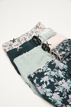 Womensecret 7-pack floral cotton Brazilian panties green