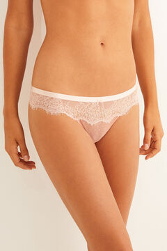 Womensecret Plumetis and lace tanga nude