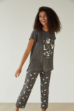Womensecret Pijama cinzento LOVE Snoopy 100% algodão cinzento