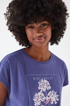 Womensecret Blue cotton short-sleeved T-shirt blue